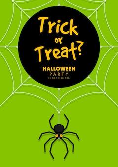 Happy halloween party szablon ulotki ozdobny z pająkiem na białym tle na zielonym tle w stylu płaska konstrukcja