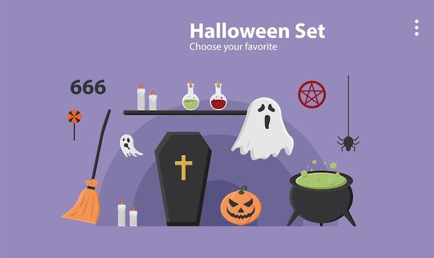 Happy halloween party tło tapeta ikona październik szablon kreskówka wzór dynia wektor