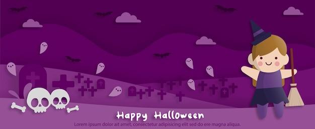 Happy halloween party w stylu sztuki papieru z dzieckiem w stroju czarownicy. kartkę z życzeniami, plakaty i tapetę. ilustracja wektorowa.
