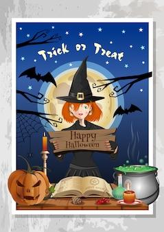 Happy halloween party z zabawną śliczną dziewczyną w stroju czarownicy na tle nocnego lasu i pełni księżyca. projekt halloween