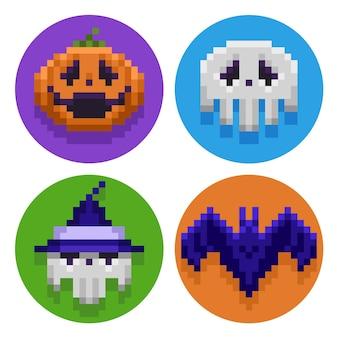 Happy halloween pixel art icon set design
