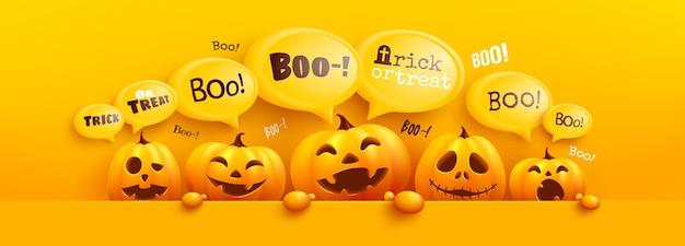 Happy halloween plakat i szablon transparentu z uroczą dynią halloween i żółtą bąbelkową wiadomością na górze. strona upiorna,