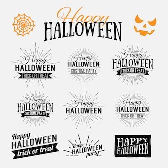 Happy halloween plakat na jasnym tle akwarela z plamami i kroplami. ilustracja szczęśliwy halloweenowy sztandar z halloween elementami. nietoperze, pajęczyna