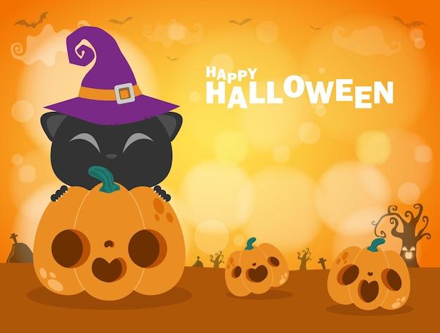 Happy halloween plakat party czarny kot i dynia patch w świetle księżyca bokeh jack o lantern