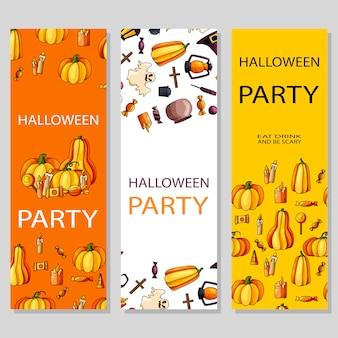 Happy halloween plakat projekt. szablon z symbolami stylu kreskówki. zaproszenie na imprezę
