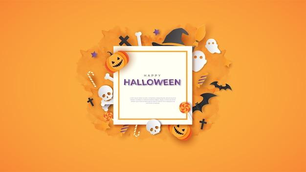 Happy halloween plakat z tekstem i stylem cięcia papieru