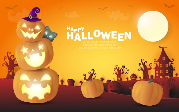 Happy halloween poster party pumpkin patch w świetle księżyca.
