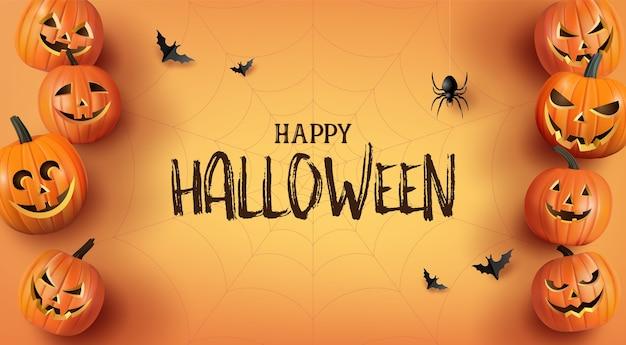 Happy halloween powitanie banner z dyni i nietoperzy.