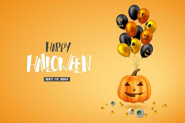 Happy halloween poziomy baner. błyszczące balony z twarzami potworów, dynią, oczami i cukierkami. odręczny napis, pomarańczowe tło. ilustracja wektorowa.