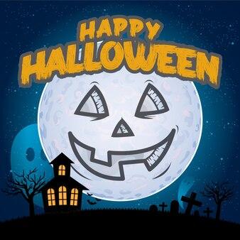 Happy halloween przerażająca karta dyniowa z księżycem i zamkiem