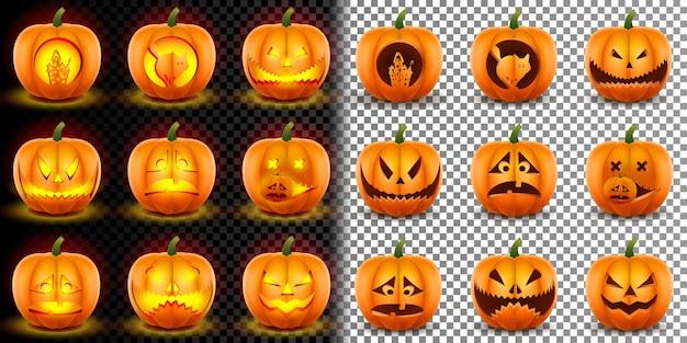 Happy halloween realistyczny duży zestaw dyni.