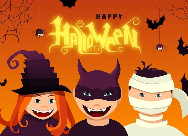 Happy halloween ręcznie napis tekst czarownica i diabeł postacie z pająkami