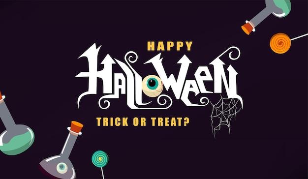Happy halloween ręcznie napis tekst z wystrojem
