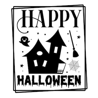 Happy halloween ręka napis premium wektor projekt
