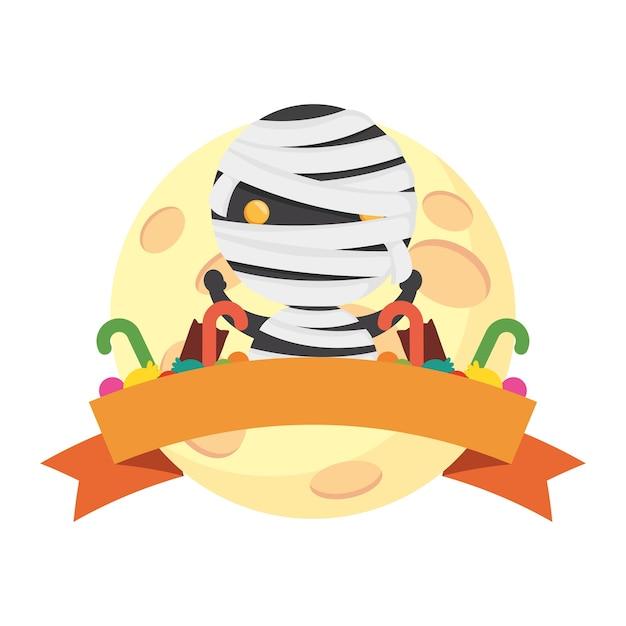 Happy halloween słodka mumia z ramą wstążki.