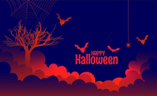 Happy halloween straszne świecące czerwone światła w tle