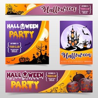 Happy halloween straszny festiwal party plakat i baner z zamkiem na tle pełni księżyca, zombie, czarownica i dynie halloween. ilustracja wektorowa