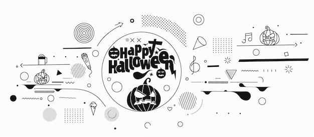Happy halloween streszczenie strony transparent lub plakat.