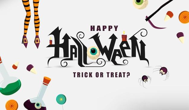 Happy halloween strony napis tekst z cukierkami i pająkami