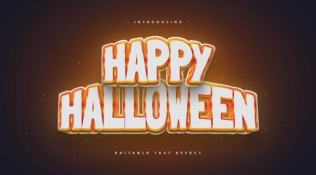 Happy halloween styl tekstu z efektem 3d i świecące. edytowalny efekt tekstowy