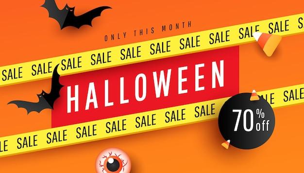 Happy halloween świąteczna sprzedaż transparent lub party zaproszenie tło wektor ilustracja