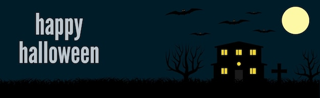 Happy halloween świąteczny sztandar z samotnym domem i nietoperzami na tle księżyca w pełni w nocy. ilustracja wektorowa.