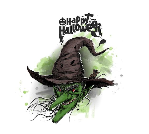 Happy halloween sylwetki czarownic, ręcznie rysowane szkic wektor ilustracja.