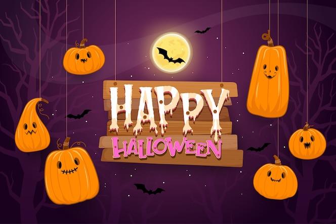 Happy halloween szablon tło w ciemności z dyni