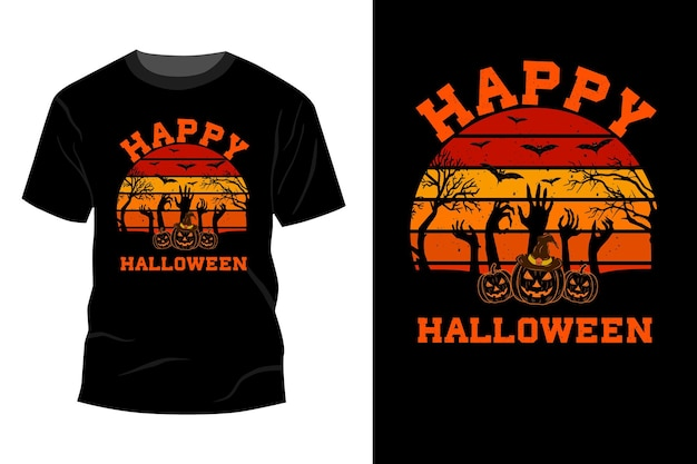 Happy halloween t-shirt makieta projekt vintage retro