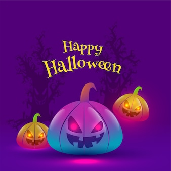 Happy halloween text with jack-o-lanterns in gradient lights effect