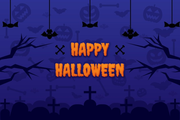 Happy halloween tło z ornamentem kości nietoperza dyni i nagrobkiem nagrobka wektor wzór