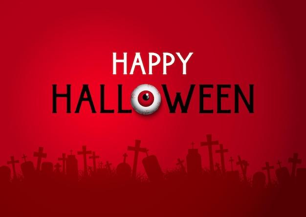Happy halloween tło z sylwetką cmentarza i gałką oczną