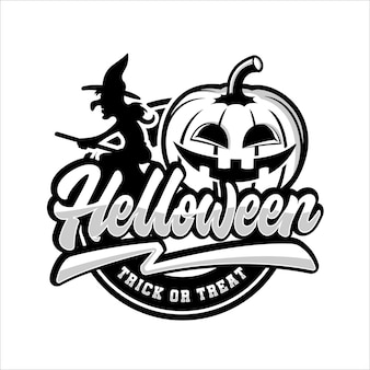 Happy halloween trick lub logo znaczek bieżnika