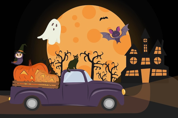 Happy halloween truck with pumpkins jack olantern vampire bat duch kot sowa w kapeluszu wiedźmy