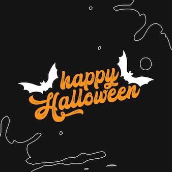 Happy halloween typografia napis życzy projekt