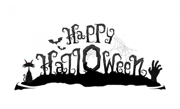Happy halloween wektor napis. straszny tekst kaligrafii ręką zombie i kota
