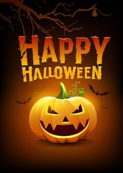 Happy halloween wiadomości dynie i nietoperz z drzewem na pomarańczowym i czarnym projekcie plakatu