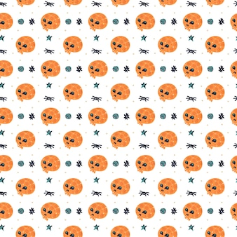 Happy halloween wzór. czaszka z pająkiem.