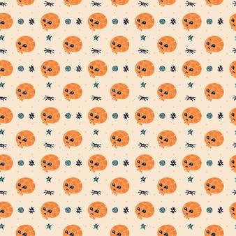 Happy halloween wzór z czaszką.