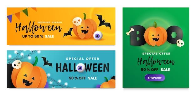 Happy halloween zestaw kart. napis boo, czaszka, kość, nietoperz i dynia w stylu cięcia papieru. halloween pozdrowienie transparent. plakat sprzedaży halloween. oferta promocyjna na halloween.