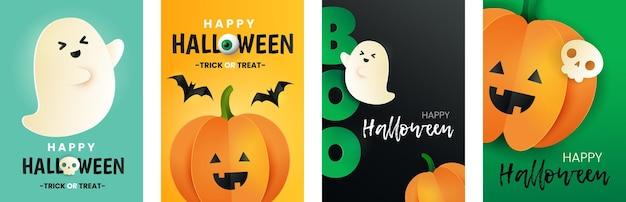 Happy halloween zestaw kart. napis boo, dynia, nietoperz, czaszka i duch w stylu cięcia papieru. plakaty z życzeniami na halloween.