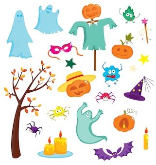 Happy halloween zestaw z dyni, duchy, pająki na białym tle