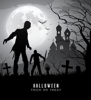Happy halloween zombies na księżycu i zamku w tle ilustracji wektorowych