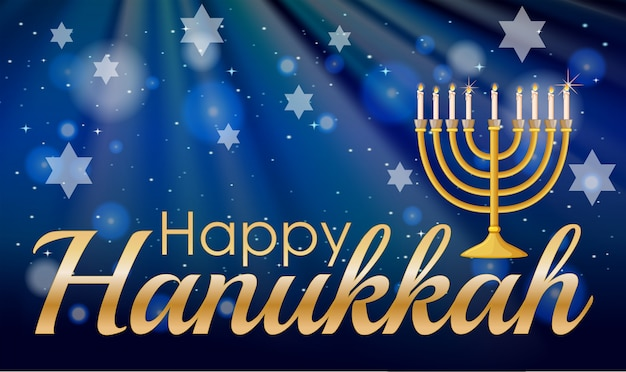 Happy hannukkah ze świecami i gwiazdami