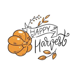 Happy harvest fraza nowoczesna kaligrafia