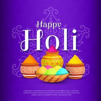 Happy holi festival media społecznościowe post tło projektu