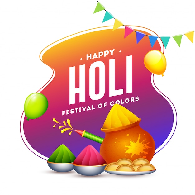 Happy holi festival of colours text on gradient abstract with balloons, color gun, mud pot and bowls full of powder (gulal).