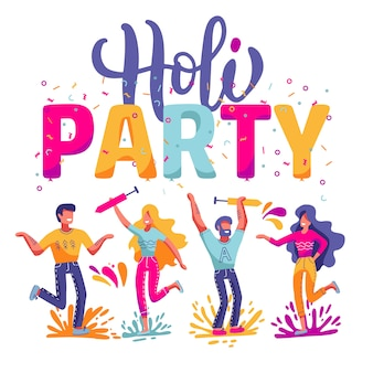 Happy holi festiwal kolorów na święto indii. płaskie ilustracja z dużym napisem - impreza holi. jasni ludzie postaci świętować i dobrze się bawić