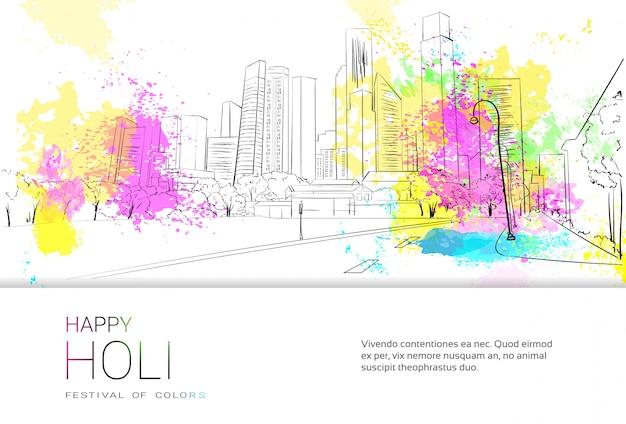 Happy holi religijne indie wakacje tradycyjne święto greeting card