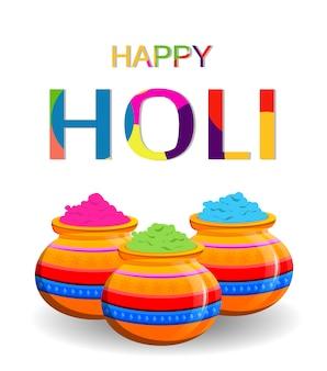 Happy holi. trzy doniczki z kolorowym proszkiem